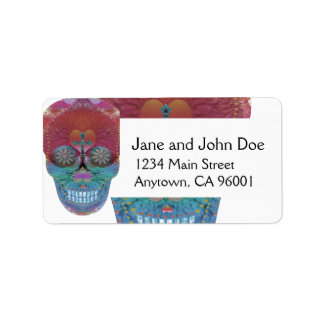 Rainbow sugar skull with tree of life and hearts address label