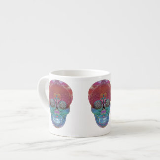 Rainbow sugar skull with tree of life and hearts espresso cup