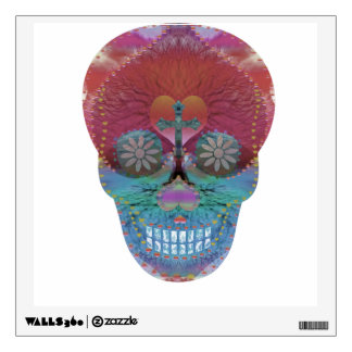 Rainbow sugar skull with tree of life and hearts wall sticker