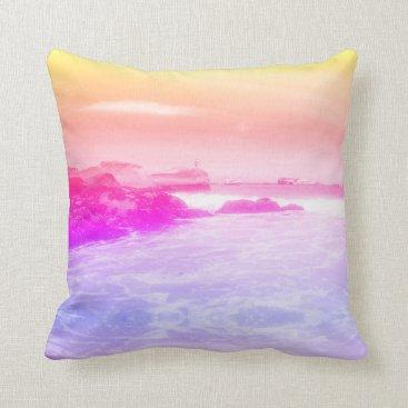 Rainbow Summer Sea Beach View Cushion Pillow