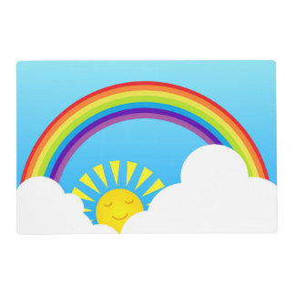Rainbow sun and clouds placemat