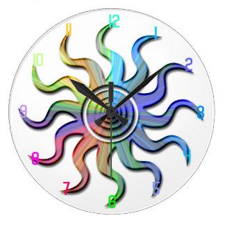 Rainbow Sun Wavy Rays Design Clock
