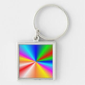 "Rainbow ""sunburst"" background keychains"