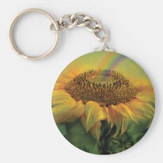 Rainbow Sunflower Art Keychain