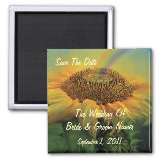 Rainbow Sunflower Save-The-Date Wedding Magnet