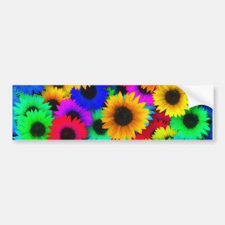 Rainbow sunflowers bumper sticker
