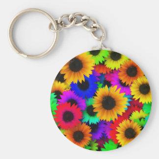 Rainbow sunflowers keychain