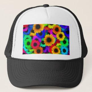 Rainbow sunflowers trucker hat