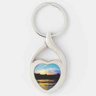 Rainbow sunset on mountain Lake Keychain