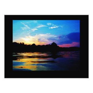 Rainbow sunset on mountain Lake Photo
