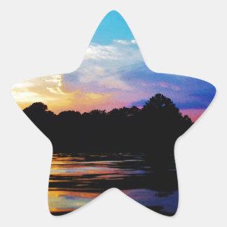 Rainbow sunset on mountain Lake Star Sticker