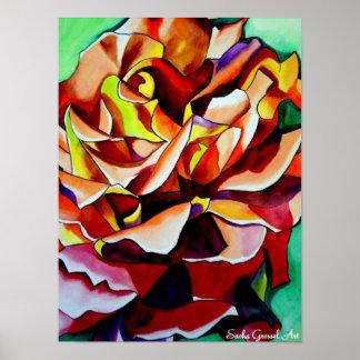 Rainbow Sunset Rose watercolor original art Poster