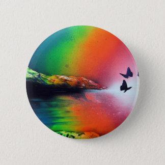 Rainbow Sunset with Butterflies Spray Paint Art Pinback Button