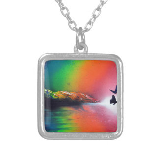 Rainbow Sunset with Butterflies Spray Paint Art Silver Plated Necklace