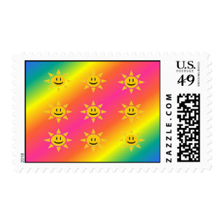 Rainbow Sunshine Postage Stamp