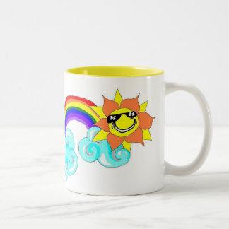 Rainbow sunshine Two-Tone coffee mug
