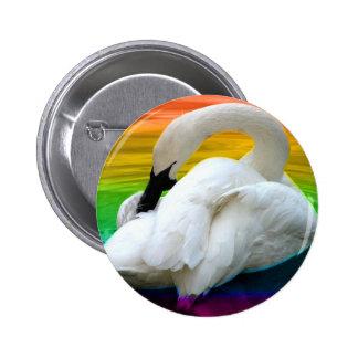 Rainbow Swan Buttons