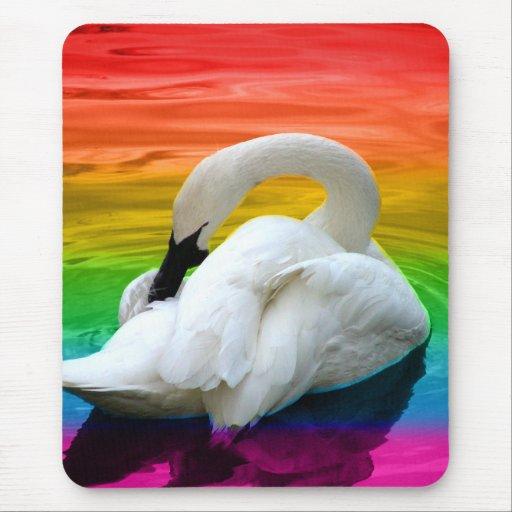 Rainbow Swan Mouse Pad