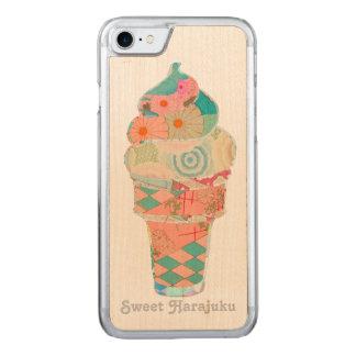 Rainbow Sweet Harajuku Custard Ice Cream Pink Cone Carved iPhone 8/7 Case