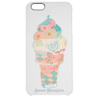 Rainbow Sweet Harajuku Custard Ice Cream Pink Cone Clear iPhone 6 Plus Case