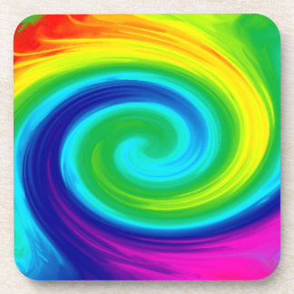 Rainbow Swirl Abstract Art Design Coaster