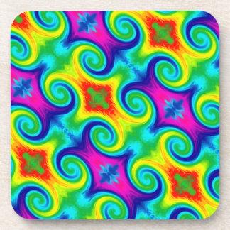 Rainbow Swirl Abstract Art Design Drink Coaster