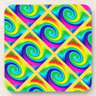 Rainbow Swirl Abstract Art Design Tiled on Yellow Coaster