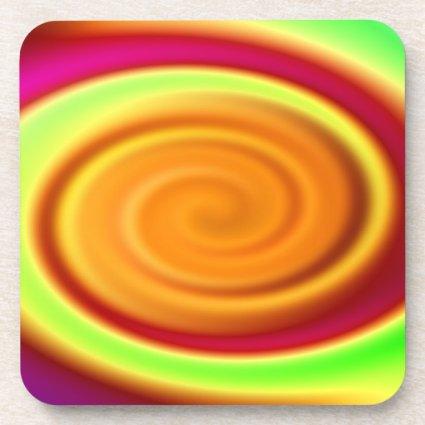 Rainbow Swirl Abstract Pattern Drink Coaster