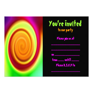 Rainbow Swirl Abstract Pattern Party Invitation