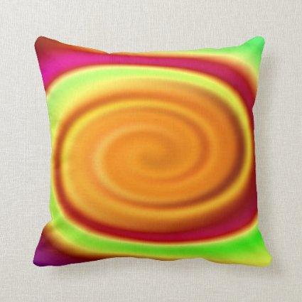 Rainbow Swirl Abstract Pattern Pillow