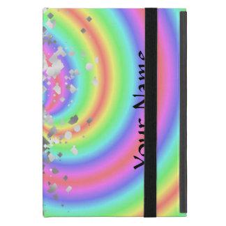 Rainbow swirl and faux glitter cover for iPad mini