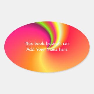 Rainbow Swirl Background Oval Sticker