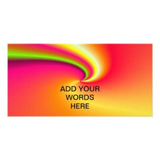 Rainbow swirl background custom photo card