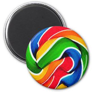 Rainbow Swirl Candy 2 Inch Round Magnet