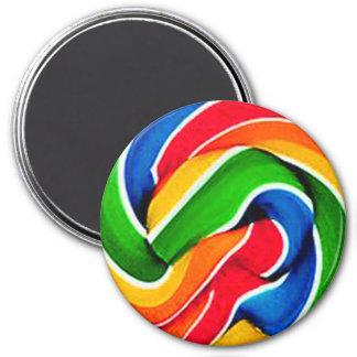 Rainbow Swirl Candy 3 Inch Round Magnet