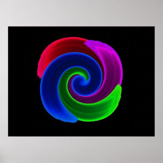 Rainbow Swirl Flower Print