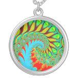 rainbow swirl fractal necklace