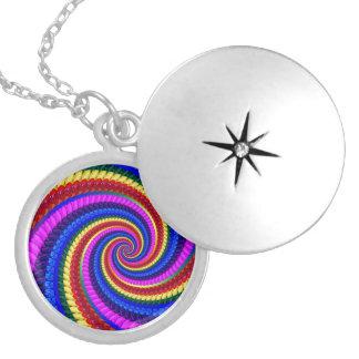 Rainbow Swirl Fractal Pattern Locket Necklace