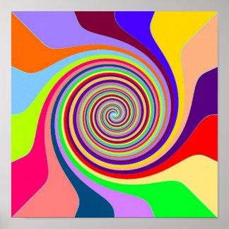 Rainbow swirl Groovy psychedelic pop art poster