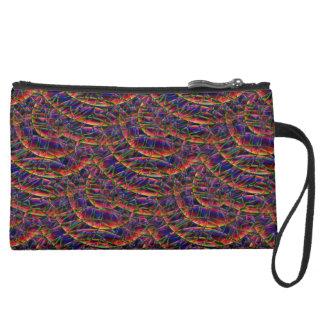 Rainbow Swirl in Time Suede Wristlet Wallet