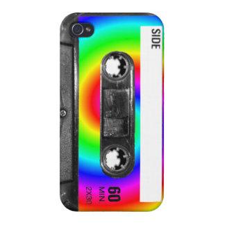 Rainbow Swirl Label Cassette Case For iPhone 4