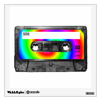 Rainbow Swirl Label Cassette Wall Sticker