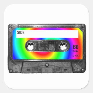 Rainbow Swirl Label Vintage Cassette Square Stickers