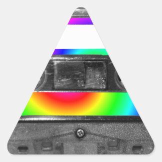 Rainbow Swirl Label Vintage Cassette Triangle Sticker