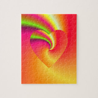 Rainbow Swirl Love Heart Jigsaw Puzzle