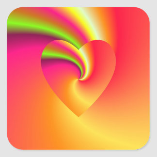 Rainbow Swirl Love Heart Square Sticker