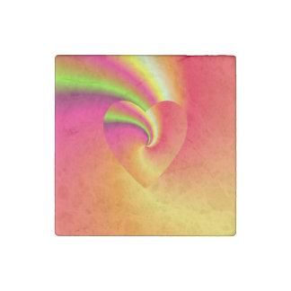 Rainbow Swirl Love Heart Stone Magnet
