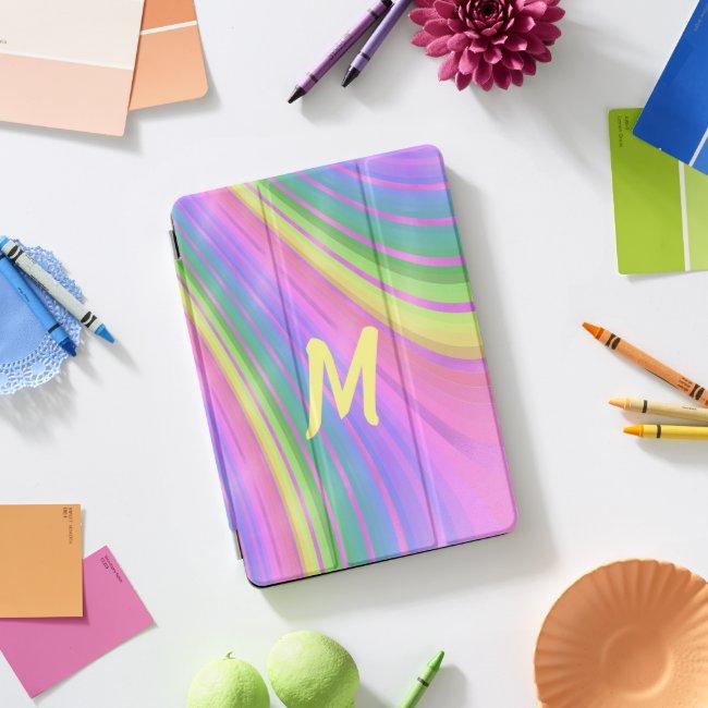 Rainbow Swirl Monogrammed iPad Pro Case