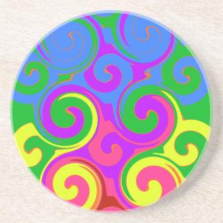 Rainbow Swirl Pattern Coaster