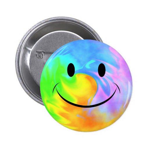 Rainbow Swirl Smiely Face Button
